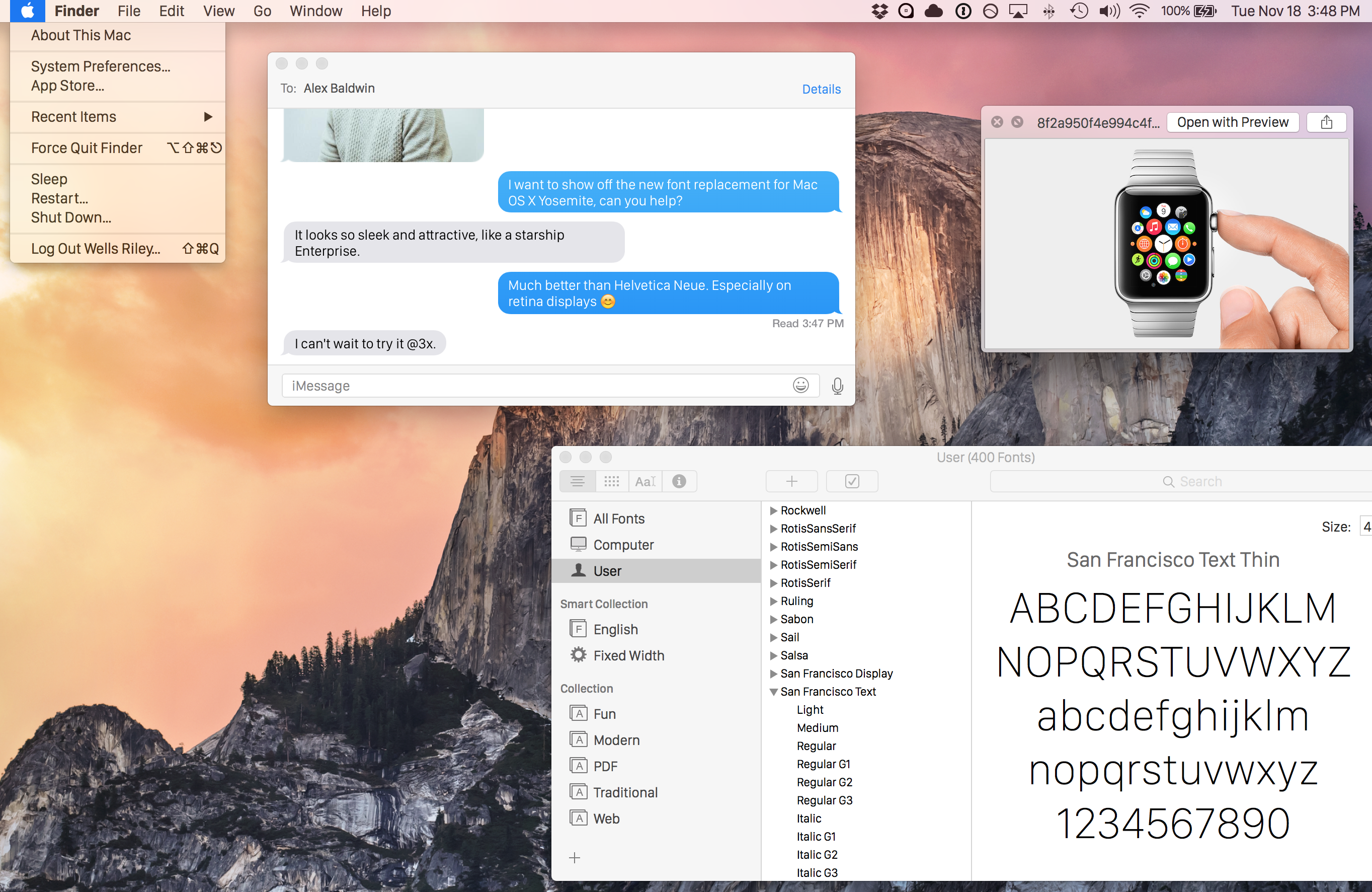 How to install a new font from the Apple Watch OS X Yosemite