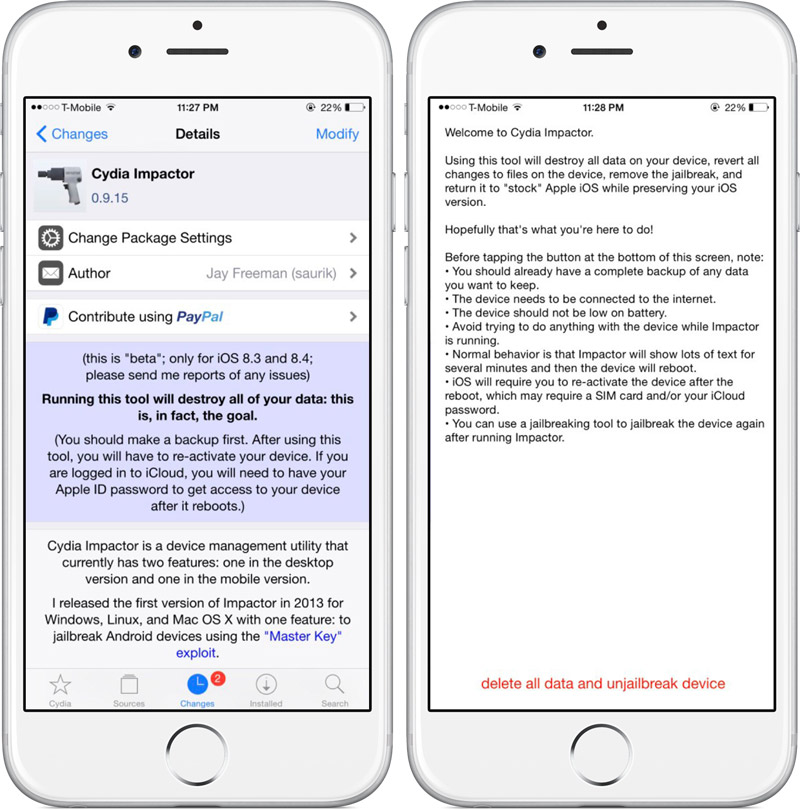 Saurik releases Cydia Impactor is a tool for recovering iPhone and