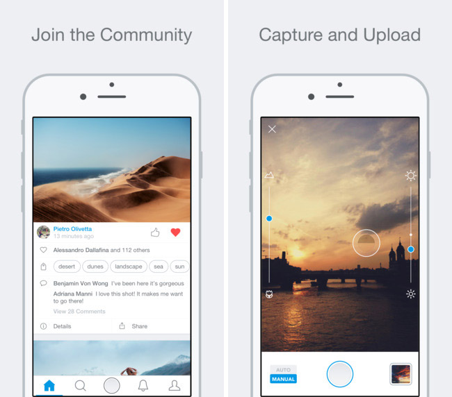 500px has restarted the app for iPhone and iPad