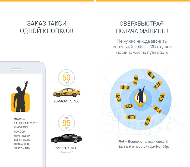 Service on call taxi Gett lowered the price by 40% in the
