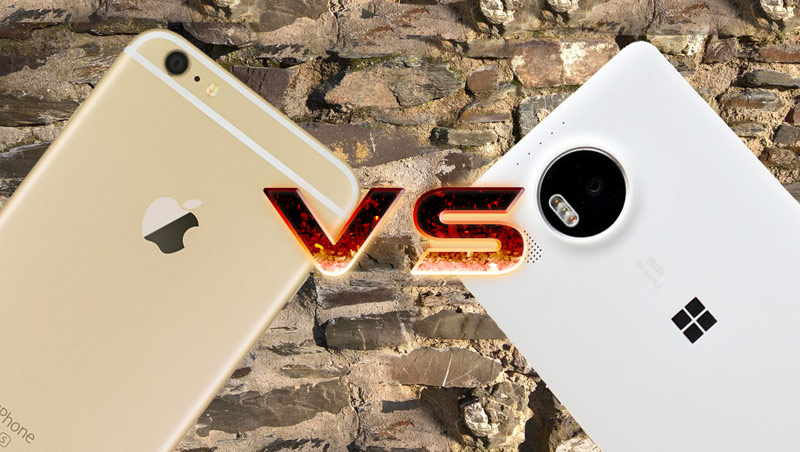 iPhone 6s Plus compared with Microsoft Lumia 950 XL in the
