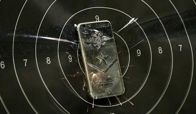 IPhone titanium 7 shot from a pistol