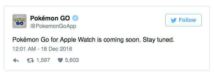 Niantic has denied the rumors about the refusal to develop Pokemon Go for the Apple Watch