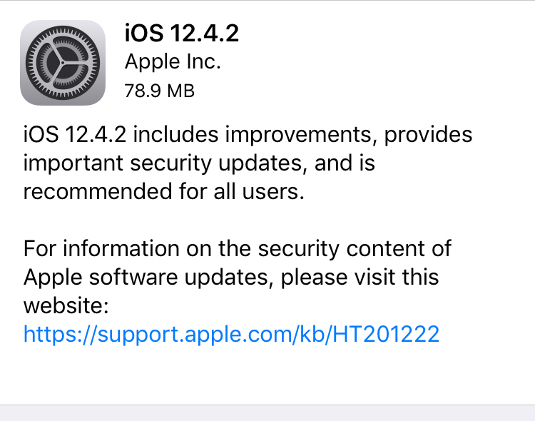 Older devices got iOS 12.4.2. Download!